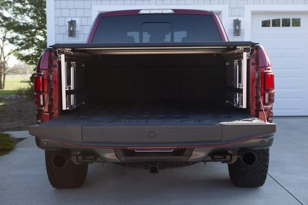 pick truck with tonneau cover and folded cargo box