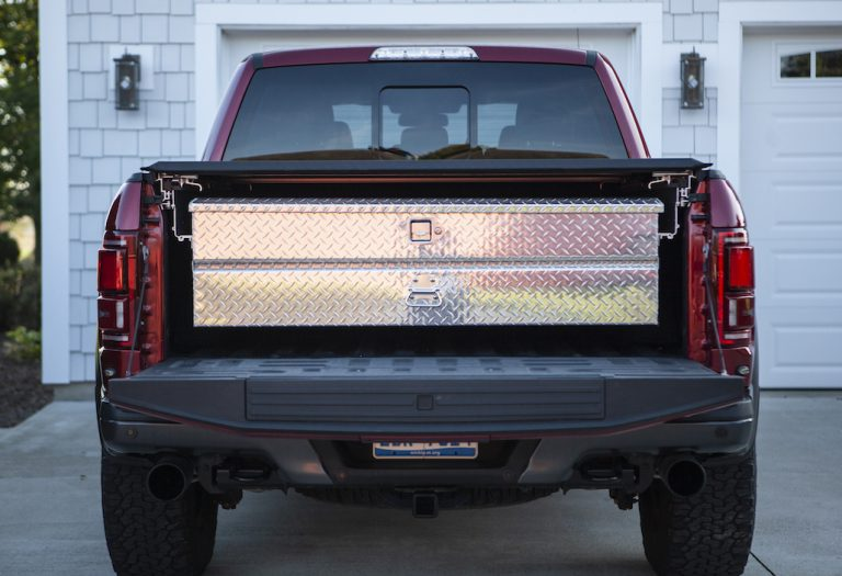 ford pickup truck with tonneau cover and extendable tool box