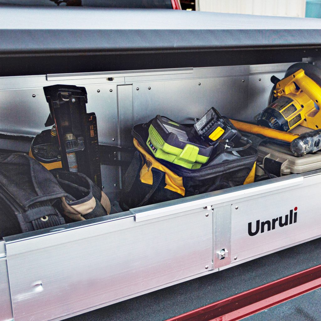 cargo box with construction tools